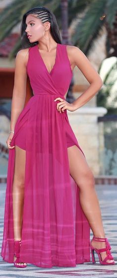 Berry colored maxi from @hotmiamistyles // Fashion Trend by Christina Amato