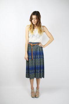 Bohemian VINTAGE SKIRT by #renewvintage, $39.00  #Hippie #Gypsy #skirt #vintage #blockprint #blue #khaki