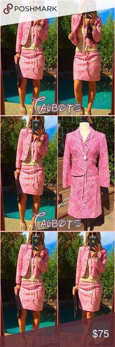 👛Talbots👛 City chic two piece Talbots suit, my powerhouse Poshette's  this will have you bringing down the board room looking immaculate!. It's pristine, new no tags...one you don't want to miss. Dry clean only acrylic! Talbots Jackets & Coats Blazers