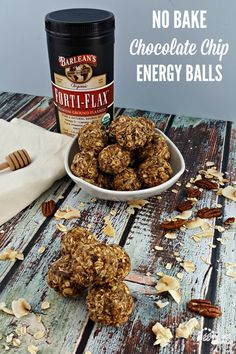 No Bake Chocolate Chip Energy Balls with Barleans Forti-Flax Great Recipes, Dog Food Recipes, On The Go Snacks, Energy Balls, Toasted Coconut, Mint Chocolate, Cravings, Healthy Snacks, Peanut Butter