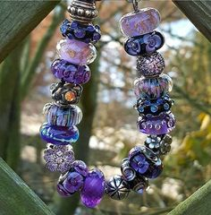 Oooh I love these beads in my favourite colours. Pandora Purple Charms, Pandora Beads, Pandora Bracelets, Pandora Jewelry, Charm Jewelry, Boho Jewelry, Beaded Jewelry, Beaded Bracelets, Jewellery