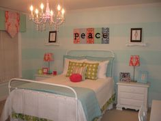 Blue Coral White Green Teen Tween Girl's room