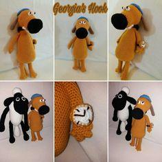 """17 """"Μου αρέσει!"""", 1 σχόλια - Georgia's Hook (@georgias_hook) στο Instagram: """"#Shaun_the_sheep #Bitzer_the_dog #Shaun #Bitzer #amigumuri #crochet_amigumuri #amigumuri_Shaun…"""" Sheep, Georgia, Crochet Hats, Dog, Instagram, Knitting Hats, Diy Dog, Dogs"""