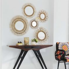 Set of 5 Rattan Wall Mirrors - Round & Oval Mirrors - Mirrors
