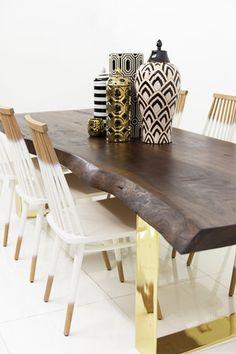 Walnut Eco Slab Dining Table with Brass U Legs | ModShop
