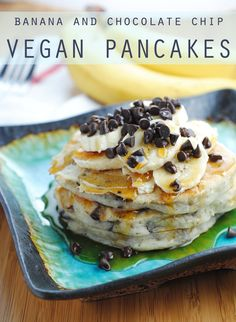 Banana and Chocolate Chip vegan pancakes. These make an great weekend breakfast treat! It's like dessert for breakfast!