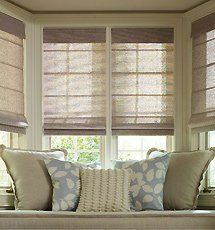 Levolor Roman Shades Tweed Rattan And Lemongrass Weaves By Levolor 234 00 Fo Roller Shades Living Room Bay Window Living Room Window Treatments Living Room