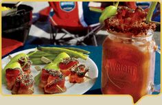 Great way to start your day, with a Bacon Bloody Mary made with Wright Brand.