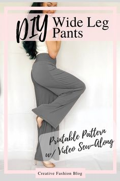 Wonderful Photo sewing pants palazzo Tips Easy DIY wide leg palazzo pant tutorial with printable pdf sewing pattern! This beginner project c Sewing Pants, Sewing Clothes, Barbie Clothes, Dress Sewing, Easy Sewing Patterns, Clothing Patterns, Pattern Sewing, Dress Patterns, T Shirt Patterns