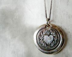 Laurel Heart Wax Seal Necklace. Fine Silver Victorian Style Jewelry. Wax Seal Artisan Jewelry. Love Symbol. Sterling Chain