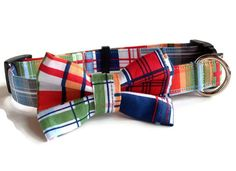 Plaid Bow Tie Dog Collar size Large