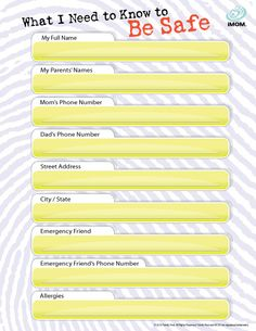 What I Need to Know to Be #Safe  #safety  http://imom.com/tools/training-tools/what-i-need-to-know-to-be-safe/