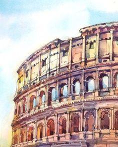 "Watercolor sketch by @xtina_gavrilova_art Гаврилова Кристина в Instagram: Detail of sketch ""Roman holiday. Coliseum"""
