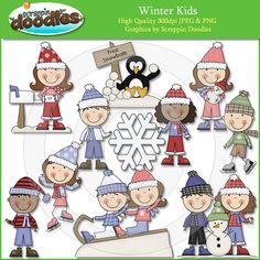 Winter Kids Clip Art by ScrappinDoodles on Etsy, $3.99