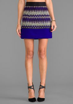 Milly Zig Zag Tweed Zipper Mini Skirt in Violet