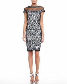 Lace Cocktail Dress with Cap Sleeves by Tadashi Shoji at Neiman Marcus.