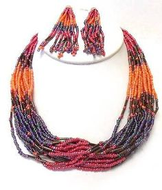 Multi-Strand-Multi-Orange-Red-Glass-Seed-Bead-Necklace-Earring