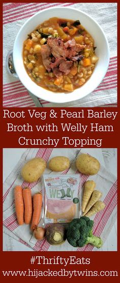 Hijacked By Twins: Root Vegetables and Pearl Barley Broth with Crunchy Welly Ham Topping Pork Recipes, Yummy Recipes, Yummy Food, Chilled Soup, Pearl Barley, Best Meat, Leftovers Recipes, Batch Cooking, Make Ahead Meals