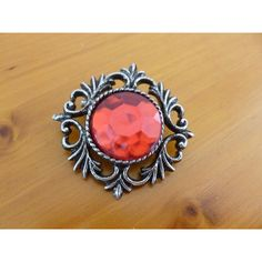 Vintage Red and Silver Tone Brooch, Vintage Costume Brooch Red Stone,... ($9.83) ❤ liked on Polyvore featuring jewelry, brooches, red brooch, red stone jewelry, bubble jewelry, silvertone jewelry and red jewelry