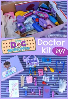 Doc Mcstuffins diy doctor kit --a girl and a glue gun pinned 7000 times Doc Mcstuffins Birthday Party, 4th Birthday Parties, 3rd Birthday, Frozen Birthday, Doctor Mcstuffins Party Ideas, Doc Mcstuffins Toys, Birthday Ideas, Diy For Kids, Crafts For Kids
