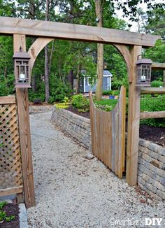 DIY Fence Gate – Garden Arbor Gate - how to build a fence Diy Pergola, Diy Arbour, Wooden Pergola, Pergola Kits, Pergola Ideas, Arbor Ideas, Pergola Roof, Diy Patio, Backyard Patio