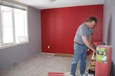 A Boy's Room Makeover That Scores The Goal... - Red and Gray Walls