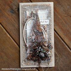 Mezzanotteskapar- Mixed Media made by Katja: Rusty Christmas Chrismas Cards, Create Christmas Cards, Christmas Mix, Christmas Labels, Christmas Crafts For Gifts, Xmas Cards, Handmade Christmas, Decoration Inspiration, Card Making Inspiration