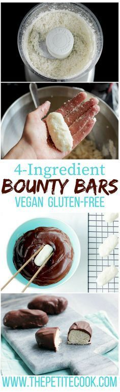 Gluten free recipe - Dairy free - Vegan - Homemade Bounty Bars are super easy to make and only require 4 healthy wholesome ingredients! Plus, they're vegan, dairy-free and gluten-free! Recipe by The Petite Cook Vegan Sweets, Healthy Sweets, Vegan Snacks, Healthy Snacks, Vegan Food, Eating Vegan, Raw Food Recipes, Sweet Recipes, Dessert Recipes