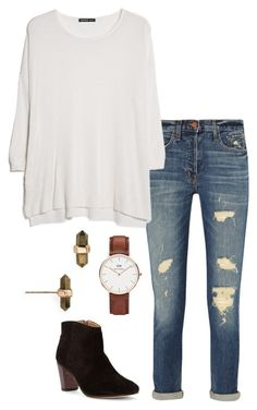 """ootd"" by helenhudson1 ❤ liked on Polyvore featuring mode, Kendra Scott, J Brand, MANGO, Johnston & Murphy et Daniel Wellington"