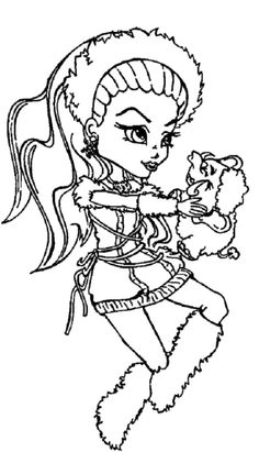 Abbey Bominable Happy With Shiver The Pets Coloring Pages - Monster High Coloring Pages : KidsDrawing – Free Coloring Pages Online