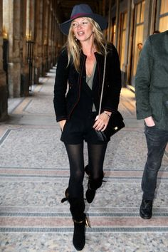 kate moss summer style - identical to my own -- tights and the summer - perfect combo!!! :)