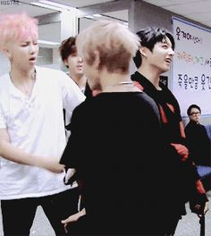 Rapmon and Jin just dancing, V spinning not knowing what else to do, and Jungook looks confused