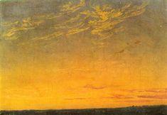Caspar David Friedrich, Evening, 1824, oil on cardboard, 20 x 27.5 cm, Kunsthalle Mannheim, Mannheim, Germany