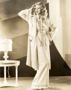 An amazing 1940s pajama suit. Ginger Rogers.