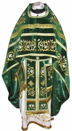 synod-supply.com   Priest's Vestments Full Set Green and Gold. $580