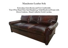 Manchester Leather Sofa by Casco Bay Furniture. Compare to the Lancaster style by Restoration Hardware. Leather Furniture, Leather Sofa, Casco Bay, Restoration Hardware, Lancaster, Living Room Furniture, Home Decor, Style, Swag