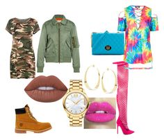 """""""army vs tie dye"""" by naestylez ❤ liked on Polyvore featuring Privileged, WearAll, Timberland, Lime Crime, Maison Margiela, Topshop, Lana, Love Moschino, Glitter Pink and Movado"""