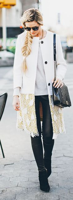 Crochet Hem Coat