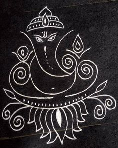 Siddhi, the insight and attainment of occult powers through the Ajna or third eye / Nilam, Kirlia Simple Rangoli Designs Images, Rangoli Designs Flower, Rangoli Border Designs, Rangoli Ideas, Rangoli Designs Diwali, Beautiful Rangoli Designs, Ganesha Rangoli, Ganesha Art, Ganesha Tattoo
