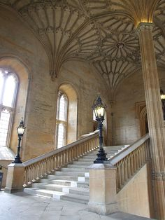 Oxford University's Christ Church College ~Steps to the Great Hall in Hogwarts where McGonagall greets the first years before the Sorting Hat Ceremony.