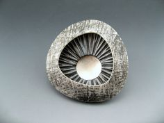 Layered polymer clay and sterling silver brooch by Stonehouse Studio