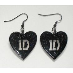 Black glitter 1D One Direction inspired heart earrings ($8.50) ❤ liked on Polyvore featuring jewelry, earrings, one direction, accessories, 1d, glitter jewelry, heart shaped earrings, earring jewelry, heart earrings and earrings jewellery