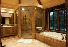 I like the large shower, but would want frosted glass (on the windows above the tub, too).