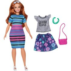Barbie Fashionista Curvy Doll with Outfit and Accessories - Rainbow Rave Mattel Barbie, Barbie Dolls, Barbie And Ken, Grey Fashion, All Fashion, Fashion Dolls, Queen Fashion, Barbie Style, Ken Doll