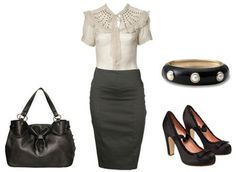 What to wear to a job interview. Make sure you add black sheer tights and a blazer.