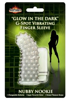 Glow-In-The-Dark Vibrating Nubby Nookie Finger Sleeve Funtimes209