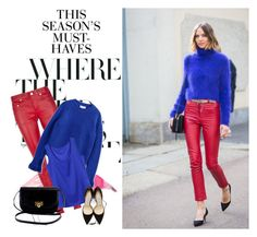 Blue + red + black by gabriela2105 on Polyvore featuring moda, 3.1 Phillip Lim, Yves Saint Laurent, Jimmy Choo, Candela and H&M