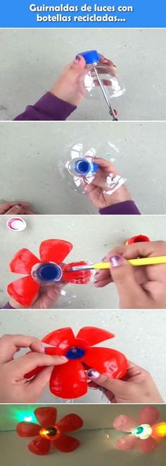 ✩ Check out this list of creative present ideas for beginners and freaks who are into fitness Plastic Bottle Tops, Plastic Bottle Crafts, Bottle Cap Crafts, Recycle Plastic Bottles, Recycled Bottles, Recycled Crafts, Diy And Crafts, Crafts For Kids, Paper Crafts