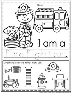 Do you teach a Community Helpers Preschool or Kindergarten Unit? You will LOVE this fun set of pretend play learning centers and no prep worksheets. Community Helpers Crafts, Community Helpers Kindergarten, Community Helpers Worksheets, Kindergarten Units, School Community, Preschool Themes, Preschool Learning, Preschool Printables, Learning Centers