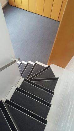 Install Burmatex 440 Sherborne Grey Carpet Tiles To Stairs
